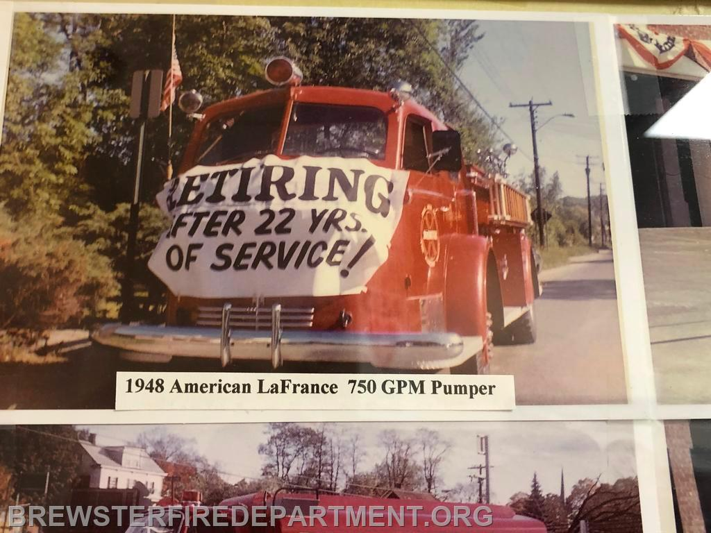 Photo #4 American LaFrance 750 GPM pumper being retired after 1970.